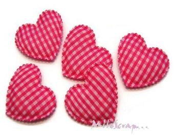 Set of 5 hearts fabric pink gingham dark embellishment scrapbooking (ref.310) *.