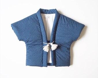Baby Hanten,Kimono jacket, japanese vest, NUIT, fabric by Atelier Brunette