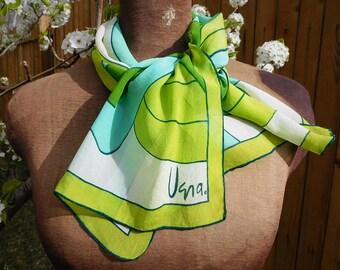 Vera Scarf - Vintage VERA- Vera Neumann-Ladybug scarf - Vera Sheer - graphic scarf- oblong scarf - Green and Blue