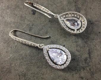 Sophia   silver bridal earrings   wedding earrings   wedding jewellery   crystal drop earrings   statement earrings   bridesmaid earrings