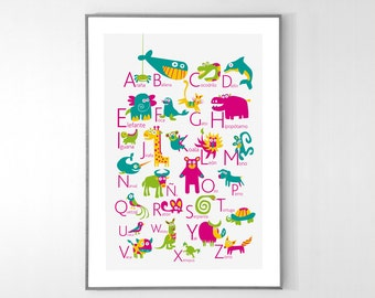 SPANISH Alphabet Poster with animals from A to Z, BIG POSTER 13x19 inches