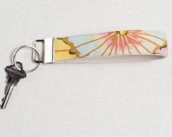 Key Fob, Keychain, Fabric Key Fob, Fabric Keychain, Fabric Wristlet, Womens Key Fob, keychain for women | Lotus Leaf
