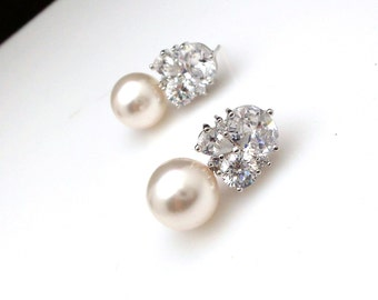 wedding jewelry bridal jewelry bridal earrings wedding earrings prom party cubic zirconia three shape post 12mm white cream swarovski pearl