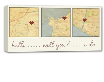 Holiday Gift Personalized Gift 3 map canvas art using Three Location, relationship map, map picture heart, personalized couple 12X24