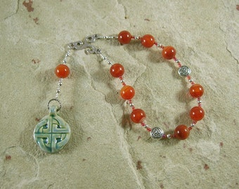 Brigid (Brighid, Brigit) Pocket Prayer Beads in Carnelian: Irish Celtic Goddess of Poetry, Crafts and Healing