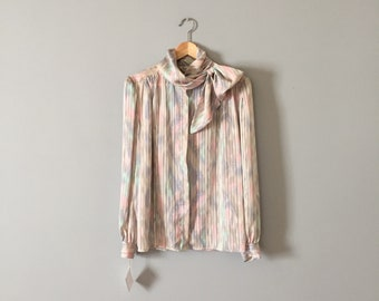 PASTEL BOW blouse   striped pastel print blouse   muted pastels bow neck poet blouse