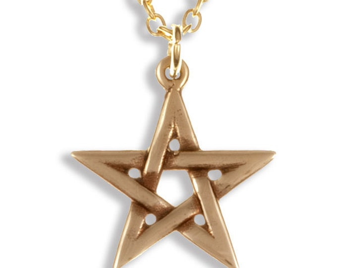 Bronze openwork pentegram pendant on a gold-plated chain -Hand Made in UK