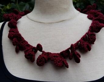 Bordeaux red crochet necklace
