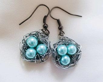 Glass Bead Bird Nest Earrings