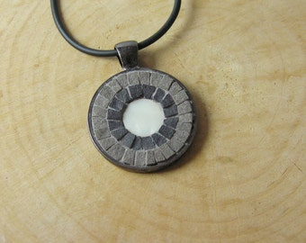 Mosaic Pendant Gray 1 inch, Mosaic Accessories, Mosaic Jewelry, Statement Jewelry, Boho, Bohemian Ethnic Mediterranean Pendant