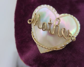Wire Name Brooch - Mother of Pearl Shell Heart