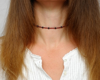 Choker necklace Gift for girlfriend Agate Jewelry Beaded choker agate necklace Minimal Necklace Simple choker Delicate Choker Agate choker