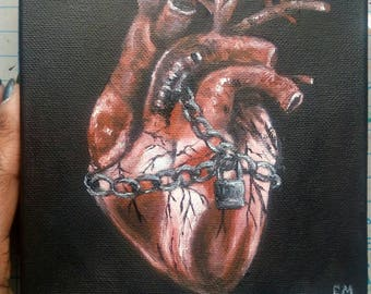 "Unvalentine Chained Heart Oil Painting 6""x 6"" READY to SHIP"
