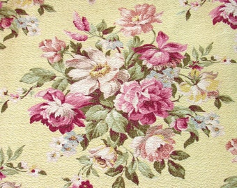Pink Cabbage Rose and Lilac Floral Vintage Barkcloth Fabric Pillow