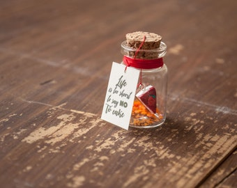 Message in a bottle-slice of cake, sweets, message
