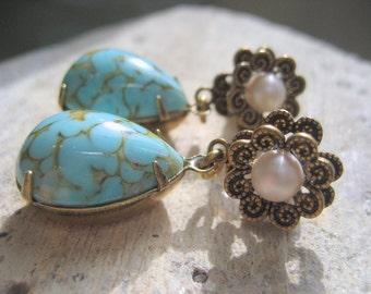 Eaux turquoise, boucles d'oreilles, boucles d'oreilles perle post, boucles d'oreilles larme turquoise, bijoux de demoiselles d'honneur de printemps