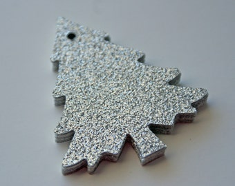 Silver glitter Christmas tree gift tag - Set of 16
