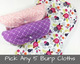 Baby Burp Cloths Girl or Boy Baby Shower Gift Contoured Burp Cloth Set Burp Rags