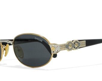 Loris Azzaro CHROME 11 747 Black Vintage Sunglasses Oval For Men