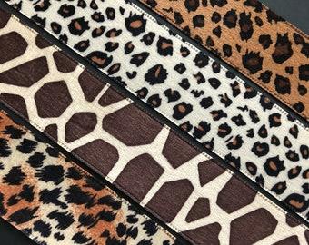 Stephanoise velvet leopard giraffe tiger animal print ribbon trim 38mm 1.5 inches wide free domestic shipping
