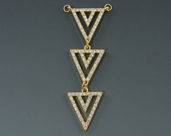 Three Triangle Necklace Pendant Gold Triple Triangle Geometric Minimalist Clear Rhinestone Jewelry Component  G5-8 1