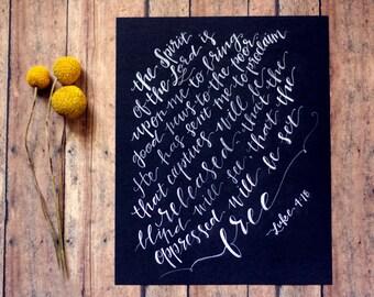Luke 4:18 Print, Scripture Print, Chalkboard, 8x10
