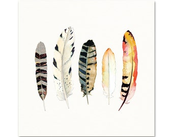 Feather Watercolor Art Print. Boho Style Feather Art. Neutral Black and White Feather Wall Art. Gift for Him. Gift for Her. Yoga Studio Art.