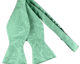 New polyester Men's Paisley Aqua Green Self-Tie Bowtie, for Formal Occasions