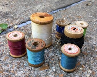Antique Thread Lot of Several Spools Blue Red Black White Vintage wood spools, cardboard