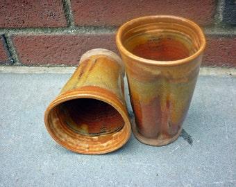 Sedona Pottery Tumbler,Organic Pottery Cup, Handless Pottery Mug, Brown, Orange, Ochre, Red 2@F 1@H