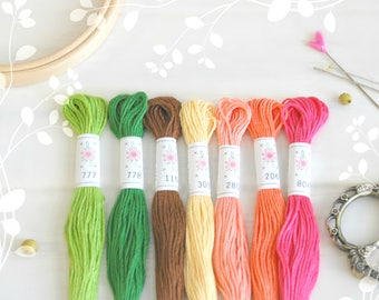 "Embroidery Floss ""Flowerbox Pallete"" - 7 Skeins Pack - Embroidery Thread by Sublime Floss - Sublime Stitching - Cotton Embroidery Floss"