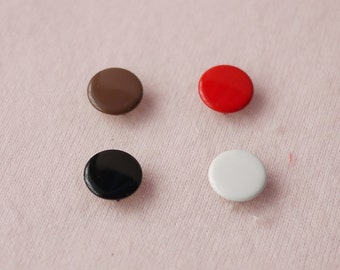 50 sets, Black, White Brown, Red Shade (4 Colors) Capped Prong Snap Button, Size 18L (11.3 mm)