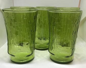 Vintage Juice Glasses Set of 6 Green Bamboo Pattern