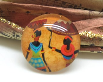 2 cabochons 14 mm glass 2-14 mm African style