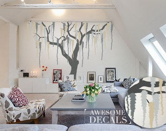 Weeping Willow Tree Decal / Wall decal tree / Tree wall decal / Large Wall Decals / Living Room Decal