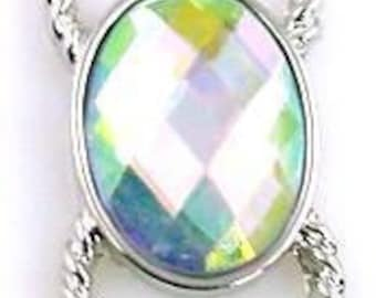 1 cast lucite silver connector bead 10384-N3