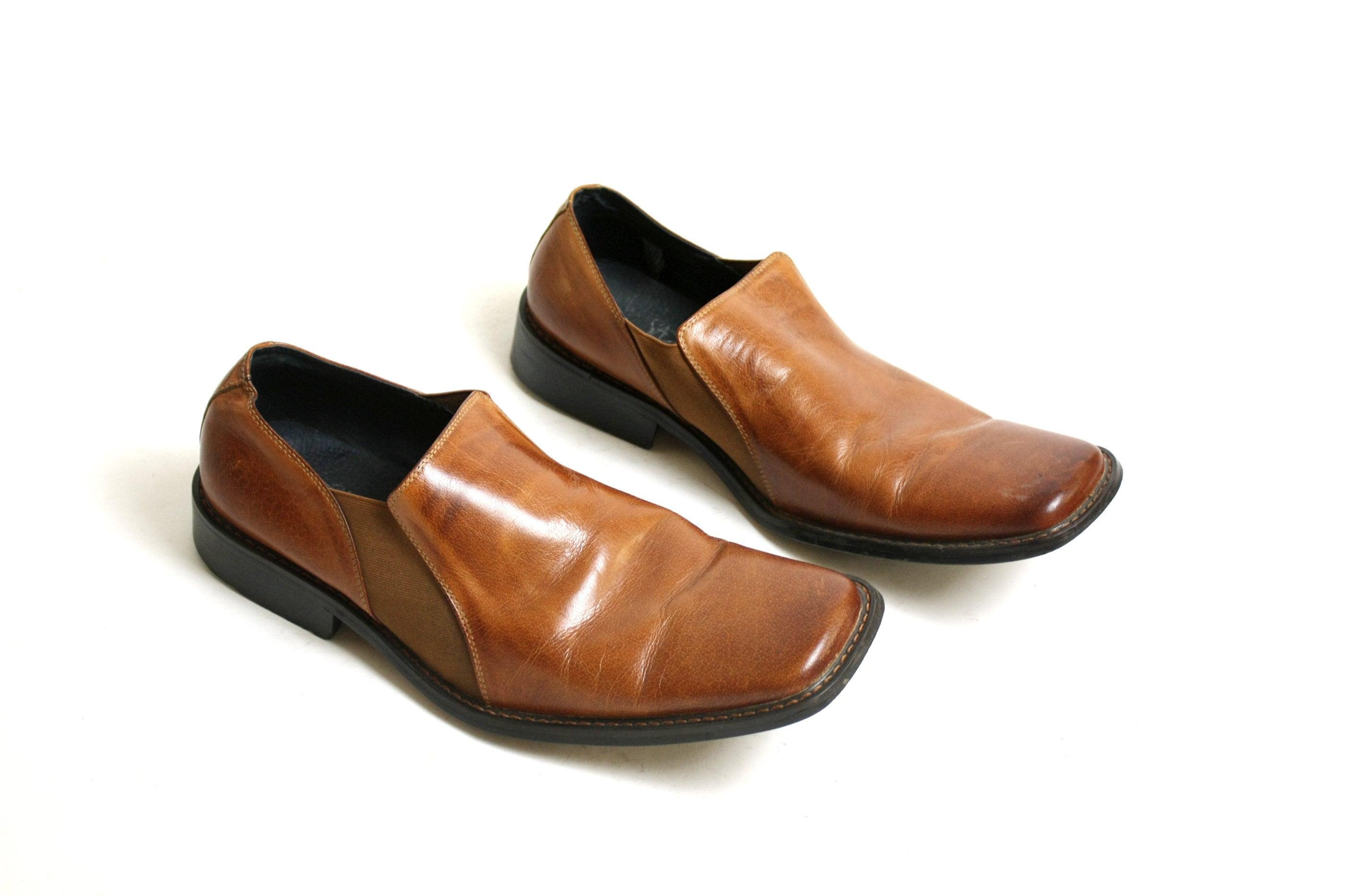 Vintage 90 Toe 80 Vrai Cuir Années Square Brun Chaussures rwAtq0rn6