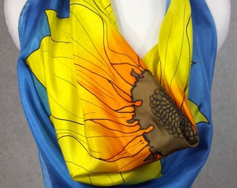 """Silk scarf, hand dyed silk scarf, square silk scarf, Yellow sunflower with  blue  background 30""""x30""""  square made to order"""