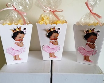 African American Baby Girl Princess Snack Boxes - Set of 10