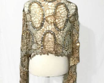 Beautiful Vintage Sequined laced Shaw, Wrap, Scarf and Head Cover Different Ways to Wear it