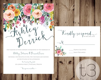 Whimsical Wedding Invitation and Response card, Wedding invitation and rsvp card, floral wedding invite, rustic formal wedding, watercolor