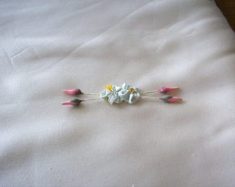 Antique silk ribbon work authentic 1920s doll size