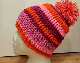 Handmade Crochet Winter Hat One size fits all Bright Pinks and Orange