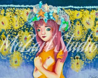 Mystic Firefly Beach Copic art Print