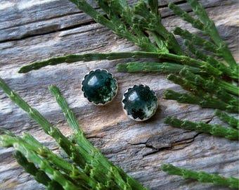 Moss Agate Earrings 6mm Sterling Silver Studs Green Stone Gemstone 925 Jewelry Forest Jungle Boho Adventurer Wanderer Explorer Gift for Her