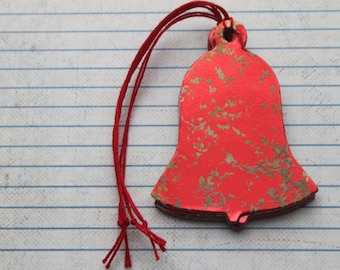 22 Bell shaped Gift Tags red mercury glass looking paper over chipboard Christmas Hang Tags