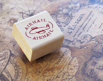 Air Mail Circle Airplane Rubber Stamp