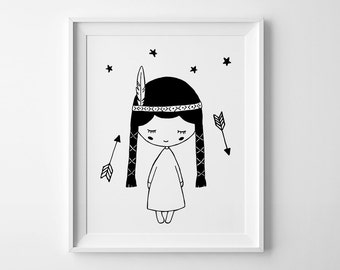 Girls nursery print, Pocahontas wall art print, black and white art, affiche Scandinave, Baby girl nursery decor, Mini Learners, nursery art