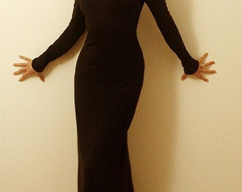 Full Length Black Scoop Neck Dress in Bamboo/Organic Cotton/Maxi Dress/Custom Made to any sleeve length