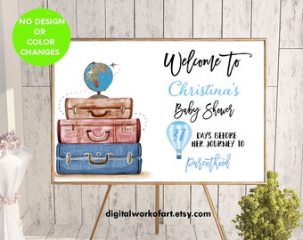 Welcome to Baby Shower Decor Sign, Mommy-to-be, Custom Welcome Parenthood Printable Baby Shower Sign, Boy, Hot Air Balloon, travel theme,